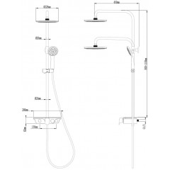 AQUALINE - MARCO sprchový sloup, ovl. pákové, přepínač tlačítko, chrom SL100