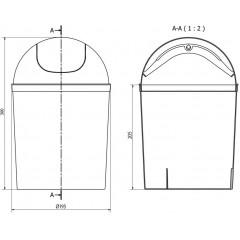 AQUALINE - Odpadkový koš výklopný, 5l, plast, bílá 20309