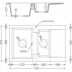 MEXEN - Gaspar žula dřez 1,5-mísa dřez s vypouštěním krátký Board 737x475 mm, černá / kovové zlato 6507731505-75