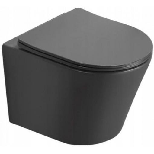 MEXEN - Rico Závěsná WC mísa včetně sedátka s slow-slim, duroplast, tmavě šedá mat 30724071