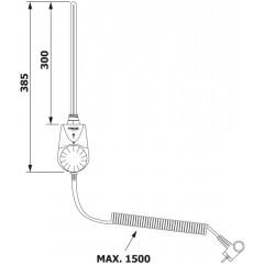 AQUALINE - Elektrická topná tyč s integrovaným termostatem 300W, bílá TS-300B
