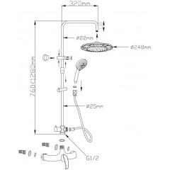 AQUALINE - KASIOPEA sprchový sloup, chrom 1107-48