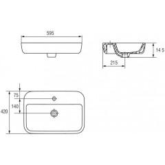 CERSANIT - Umyvadlo CASPIA čtverec 60 s přepadem (K11-0095)