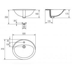 CERSANIT - Zápustné umyvadlo CALLA 54 s otvorem pro baterii (K11-0096)