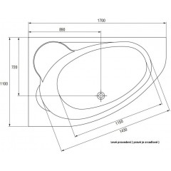CERSANIT - VANA KALIOPE LEVÁ 170X110 cm (S301-114)