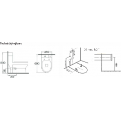 AQUALINE - GAVI WC kombi mísa s nádržkou včetně PP sedátka, zadní odpad (PB102)