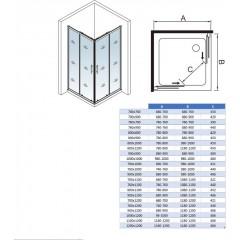 Sprchový kout čtvercový, SIMPLE 70x70 cm L/P varianta, rohový vstup