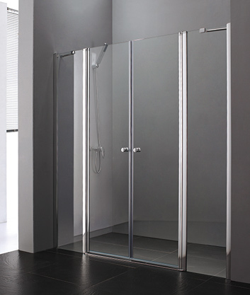 Aquatek Glass B4 115 sprchové dveře do niky dvoukřídlé s pevnou stěnou 110,5-115cm