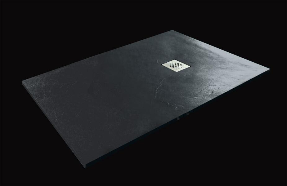Aquatek Hard TOP 100x80 sprchová vanička z litého mramoru s břidlicovým povrchem černá