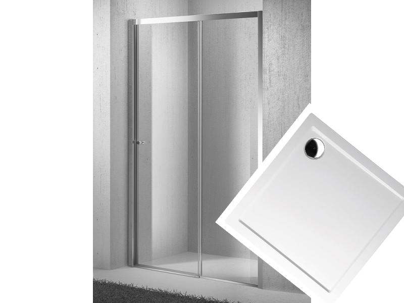 Sprchovvý set dveře zasouvací Move D2 96-101cm se sprchovou vaničkou z litého mramoru 100x100 cm