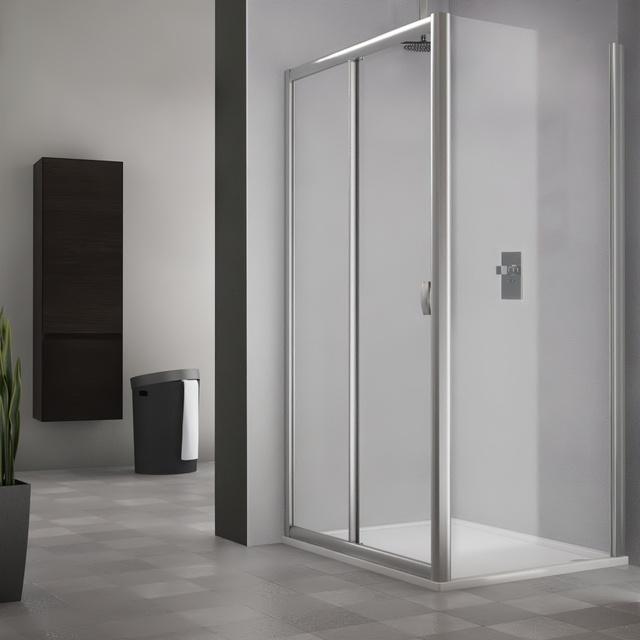 Obdélníkový sprchový kout MD2+MB - posuvné dveře a pevná stěna 1200x1000 mm MD2-120-MB100