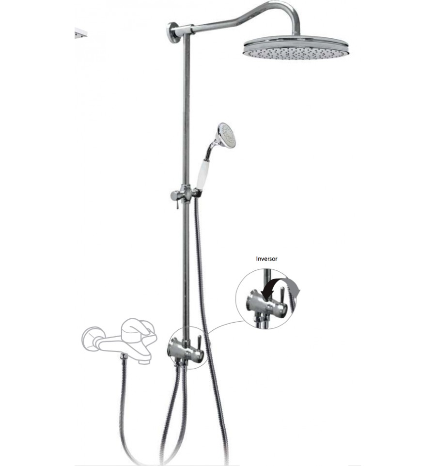 TRES - Sprchová souprava, proti usaz. vod. kamene RETRO Pevná sprcha O 310 mm. Ruční sprcha, prot (02447601)