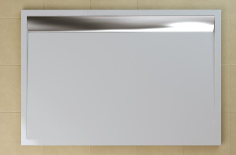 SanSwiss WIA 80 100 50 04 Sprchová vanička obdélníková 80×100 cm bílá, kryt aluchromový