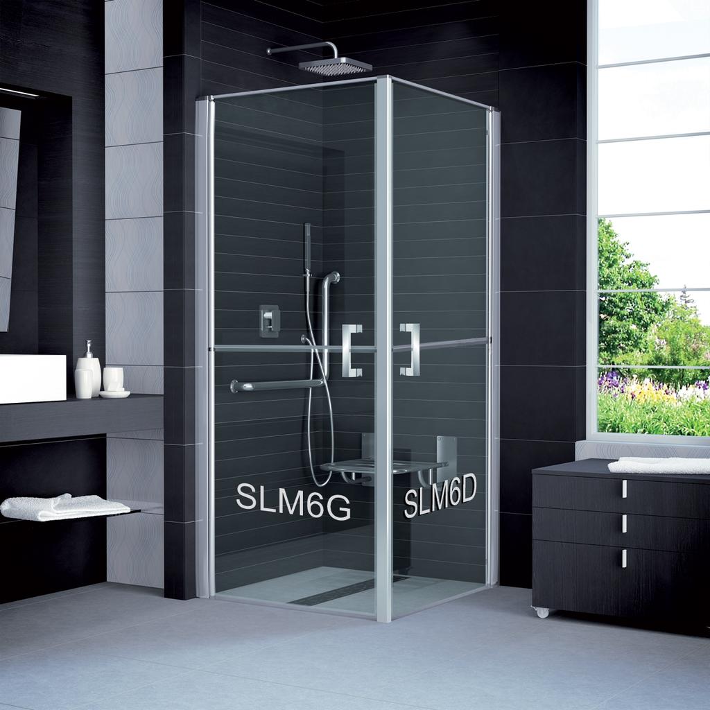 SanSwiss SLM6D 0900 50 07 Sprchové dveře jednokřídlé v 1/2 rozdělené 90 cm pravé SLM6D09005007