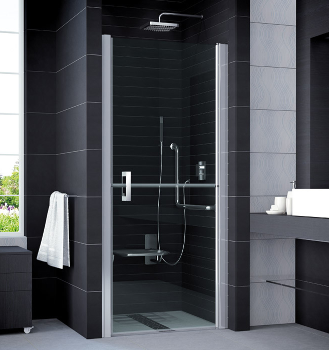 SanSwiss SLM2D 0900 50 07 Sprchové dveře jednokřídlé v 1/2 rozdělené, široké 90 cm, pravé SLM2D09005007