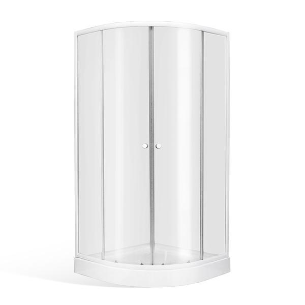 Čtvrtkruhový sprchový kout v setu s vaničkou 800x800 mm a sprchová vanička, celková výška 1900