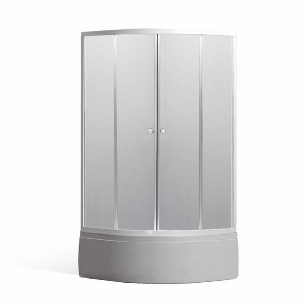 Čtvrtkruhový sprchový kout PORTLAND v setu s hlubokou vaničkou VIKI LUX 800x800 mm N0499-8000047