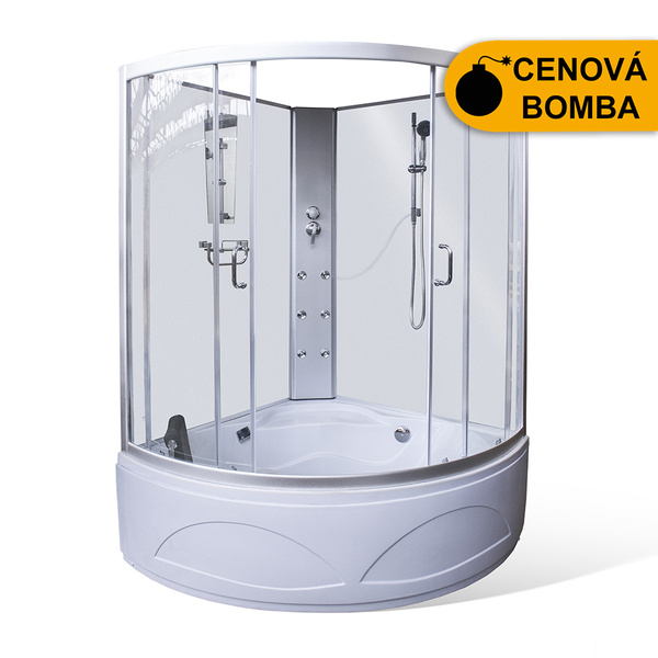 Hydromasážní sprchový box MAIA ECO masážní s vanou 1350x1350 mm 4000658