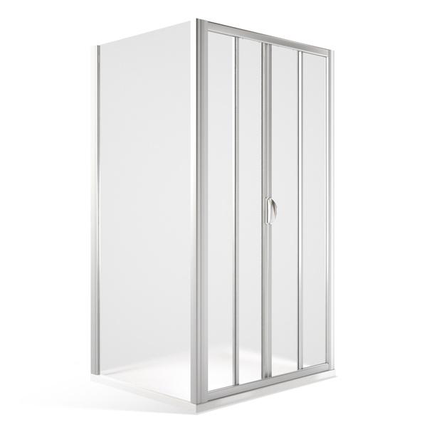 Obdélníkový sprchový kout SMD2+SMB - posuvné dveře a pevná stěna 1100x800 mm, bílá/chinchilla SMD2-110-SMB80-BC