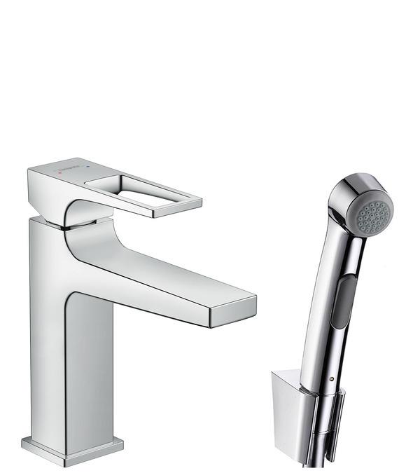 Hansgrohe Metropol Sada ruční bidetové sprchy 1jet a umyvadlové pákové baterie, chrom 74522000