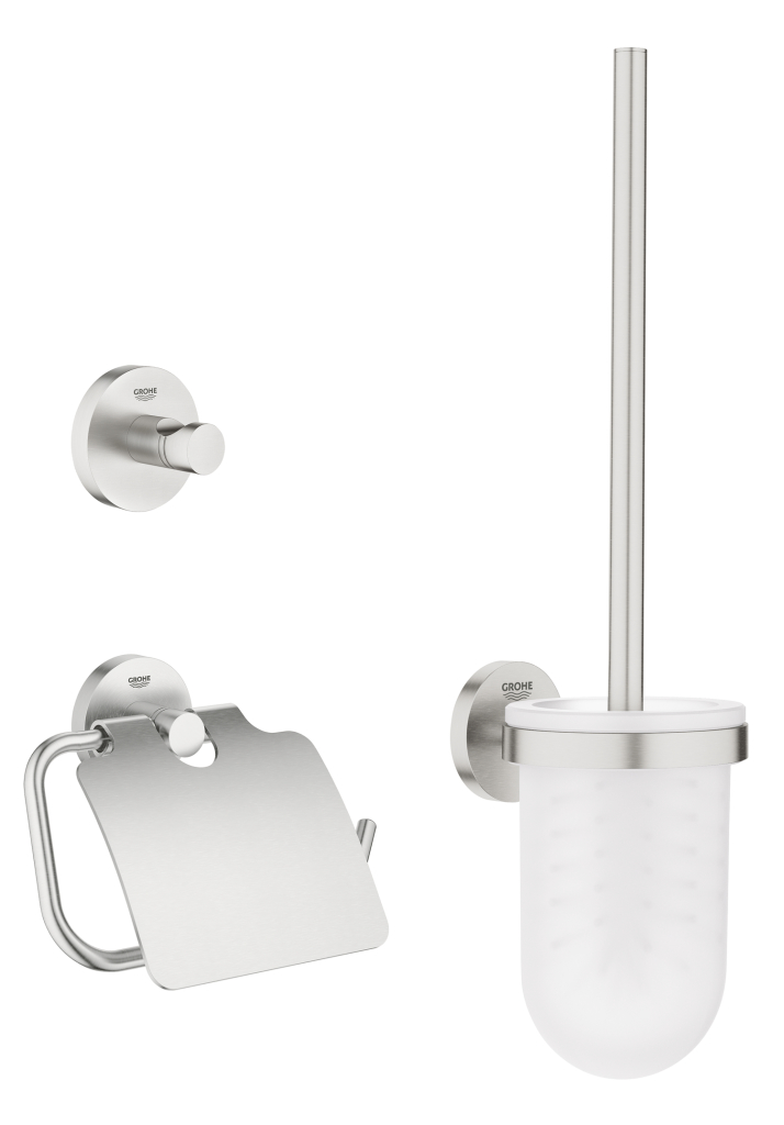 Grohe Essentials Sada doplňků pro toaletu 3 v 1, supersteel 40407DC1