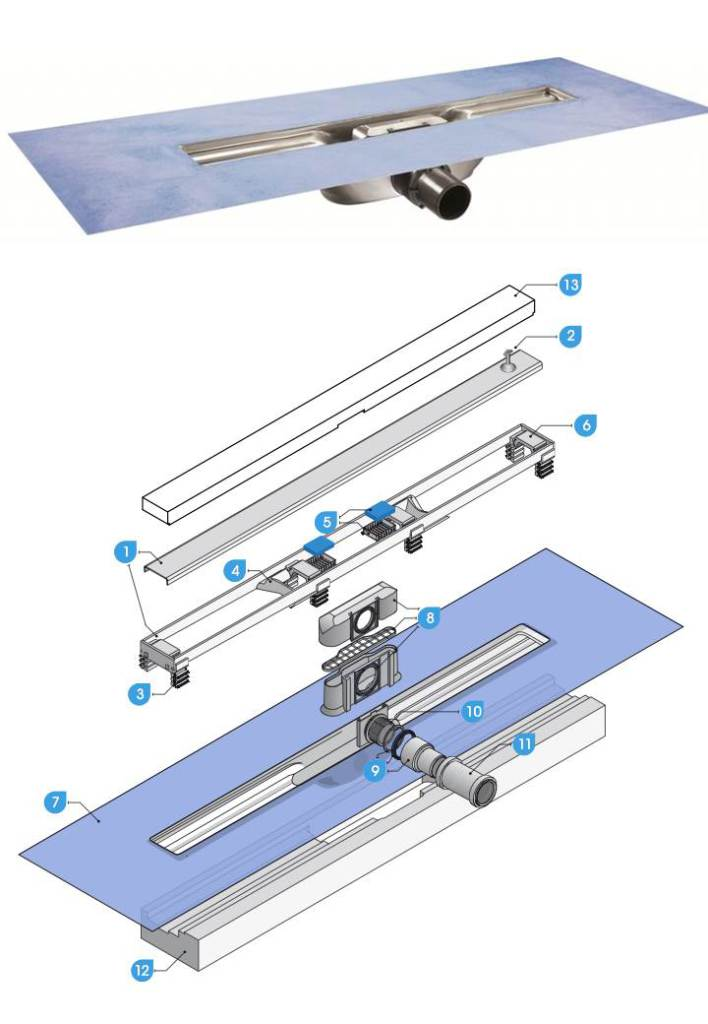 I-Drain Linear 54 Nerezový sprchový žlab s hydroizolací, délka 1000 mm ID4M10001X1