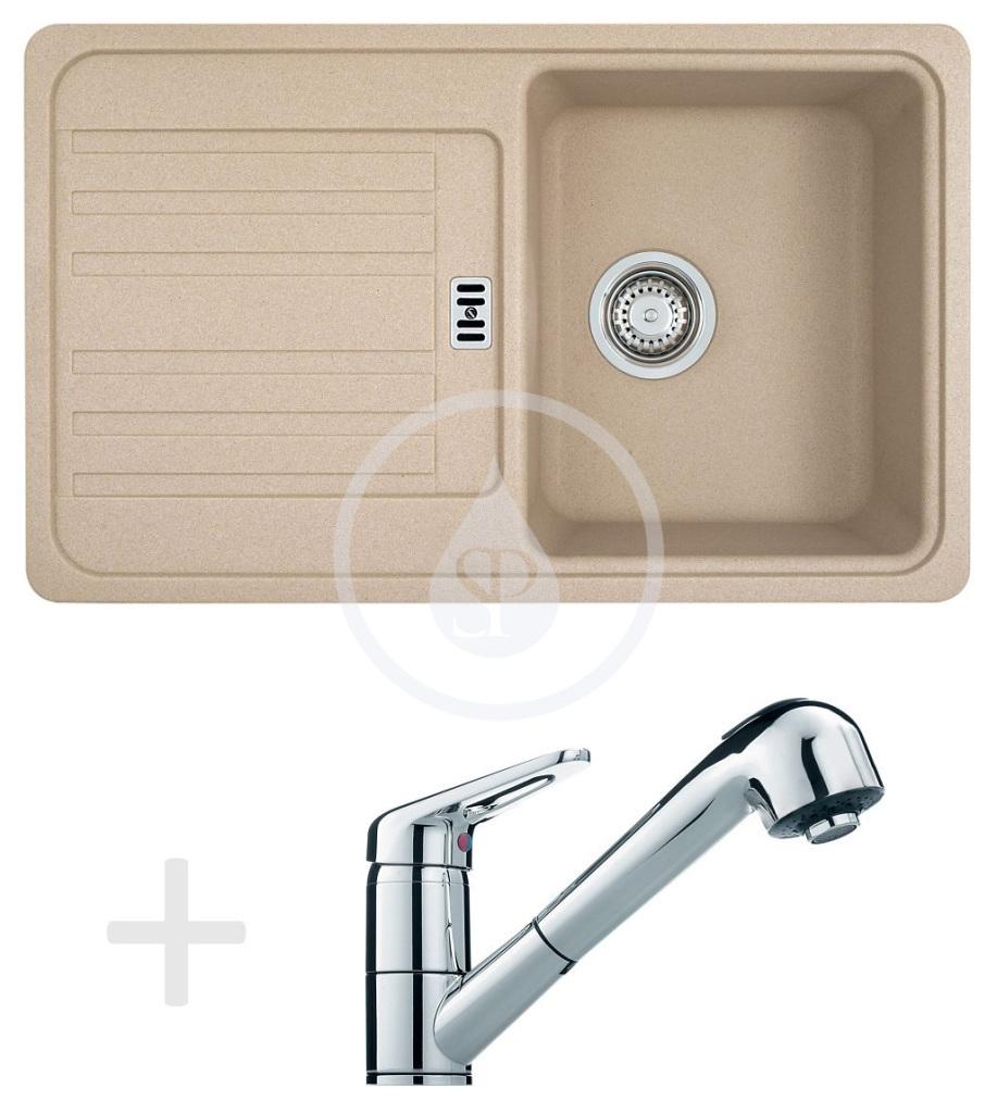 Franke Sety Kuchyňský set G18, granitový dřez EFG 614-78, pískový melír + baterie FC 9547.031, chrom 114.0120.407