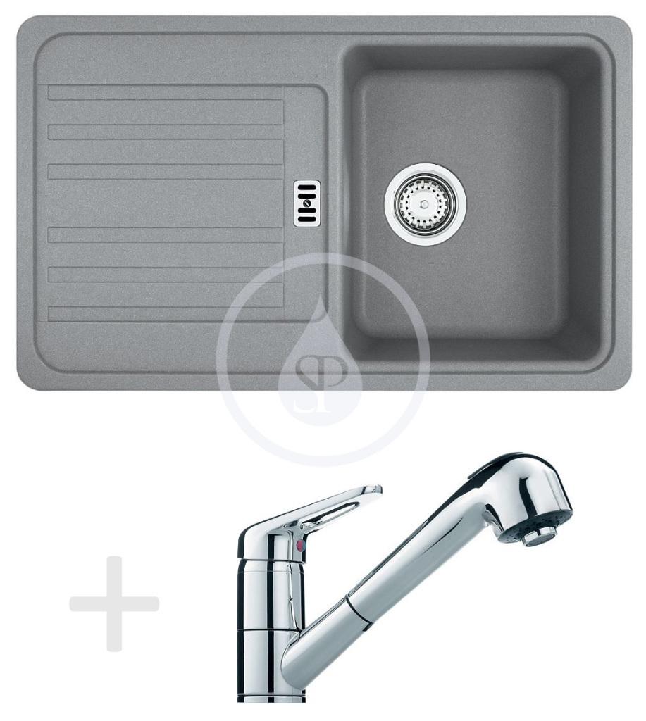 Franke Sety Kuchyňský set G18, granitový dřez EFG 614-78, šedý kámen + baterie FC 9547.031, chrom 114.0120.413