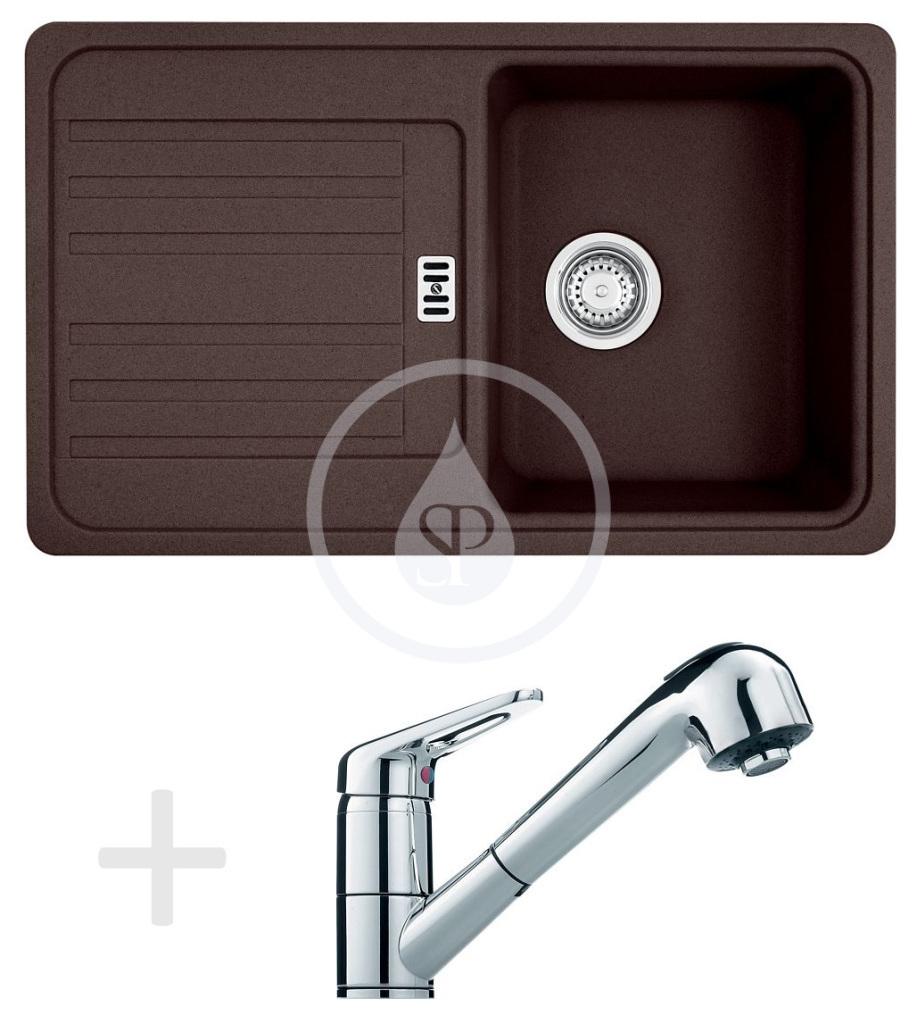Franke Sety Kuchyňský set G18, granitový dřez EFG 614-78, tmavě hnědá + baterie FC 9547.031, chrom 114.0252.880