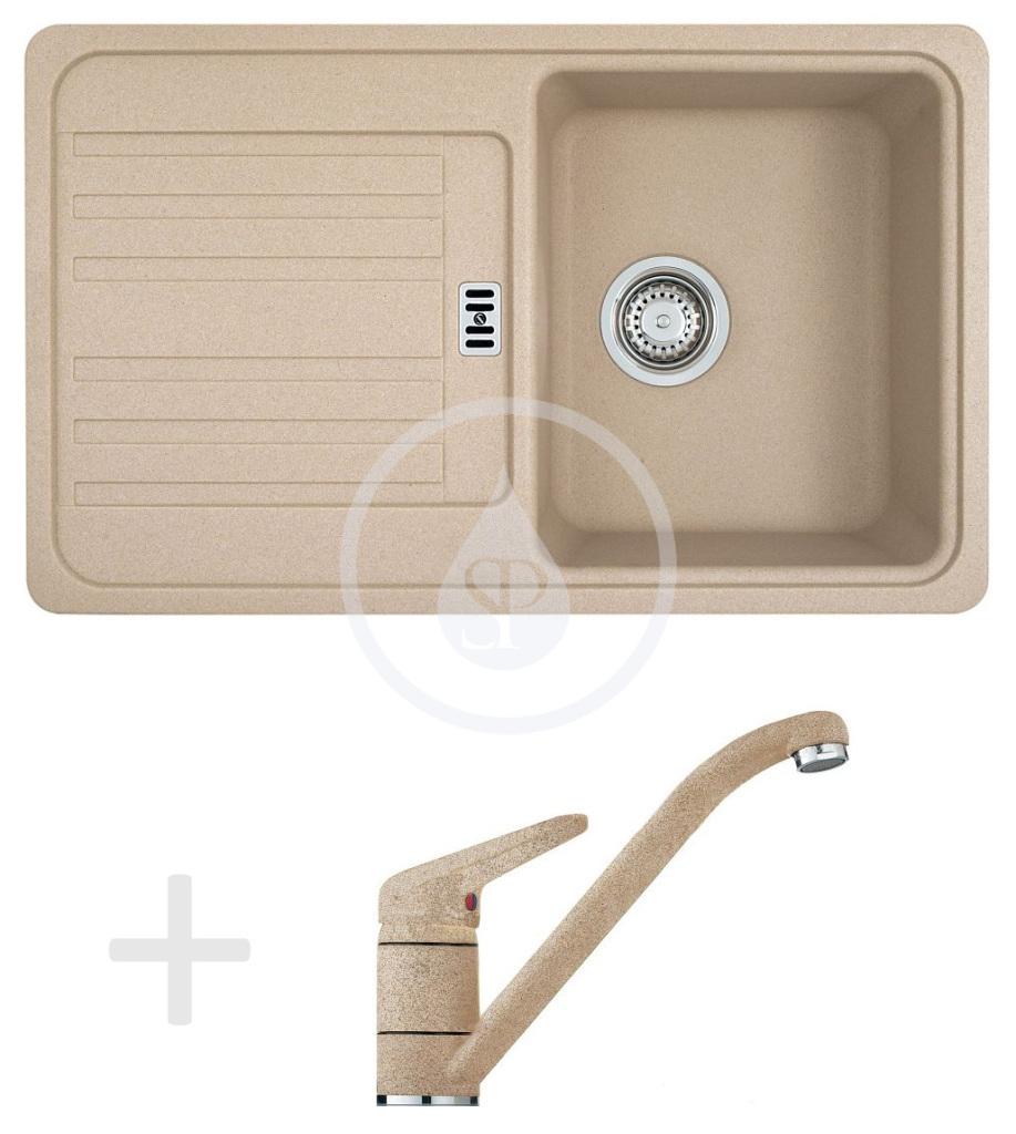 Franke Sety Kuchyňský set G19, granitový dřez EFG 614-78, pískový melír + baterie FC 9541.085, pískový melír 114.0120.394
