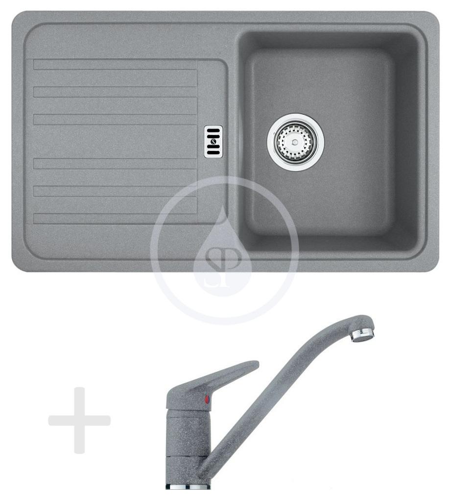 Franke Sety Kuchyňský set G19, granitový dřez EFG 614-78, šedý kámen + baterie FG 9541.084, šedý kámen 114.0120.400