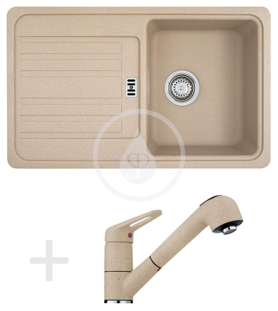 Franke Sety Kuchyňský set G20, granitový dřez EFG 614-78, pískový melír + baterie FC 9547.085, pískový melír 114.0120.408