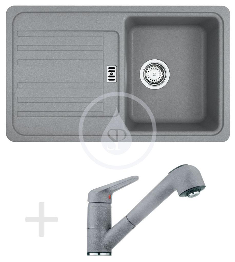 Franke Sety Kuchyňský set G20, granitový dřez EFG 614-78, šedý kámen + baterie FC 9547.084, šedý kámen 114.0120.414