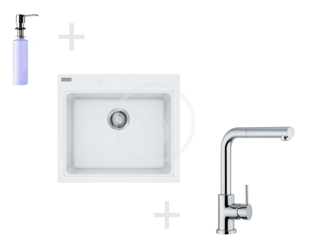 Franke Sety Kuchyňský set G36, granitový dřez KSG 238, bílá-led + baterie FN 0147.031, chrom + dávkovač FD 300 114.0283.331