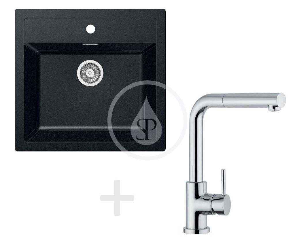 Franke Sety Kuchyňský set T12, tectonitový dřez SID 610, černá + baterie FN 0147.031, chrom 114.0264.293