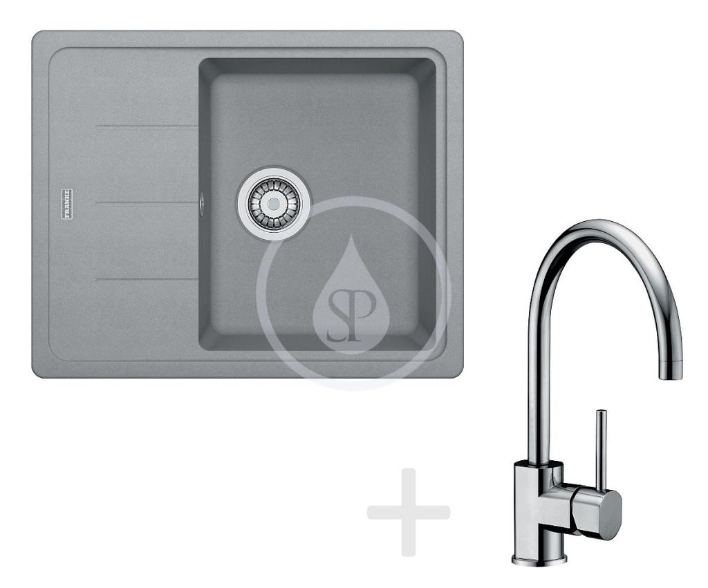 Franke Sety Kuchyňský set G54, granitový dřez BFG 611-62, šedý kámen + baterie FC 650, chrom 114.0323.813