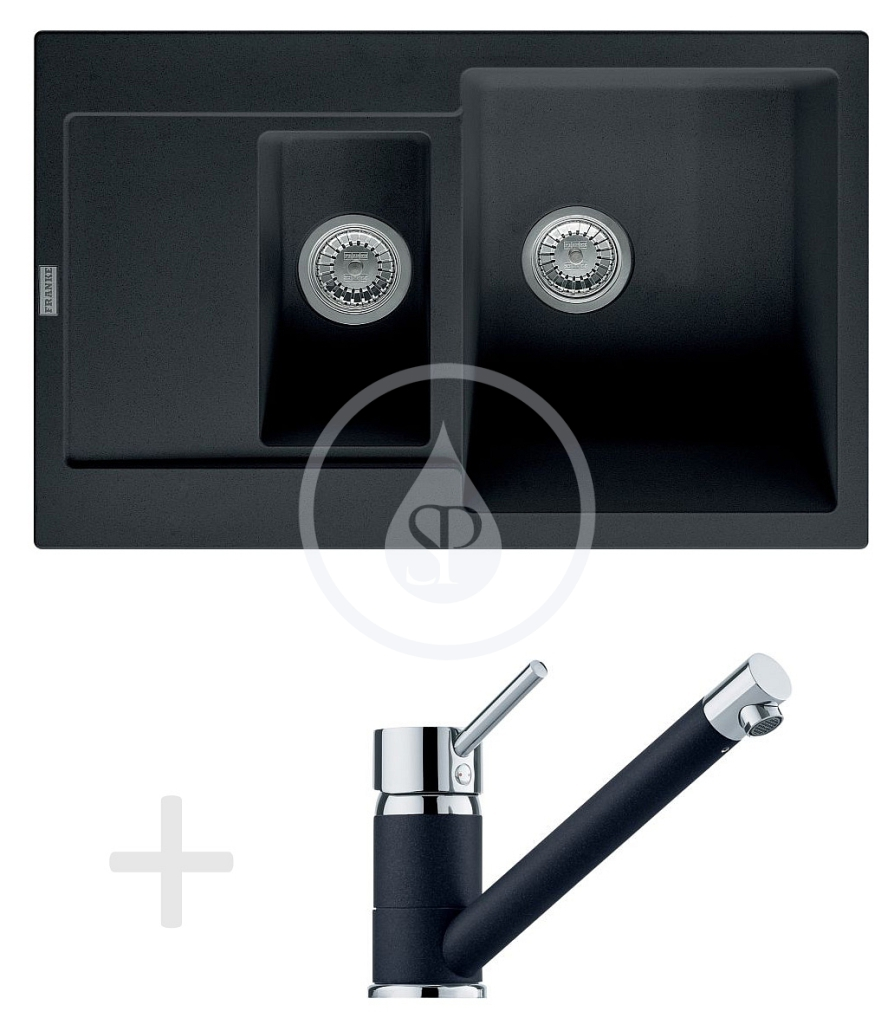 Franke Sety Kuchyňský set G73, granitový dřez MRG 651-78, onyx + baterie FG 7477, onyx 114.0365.295