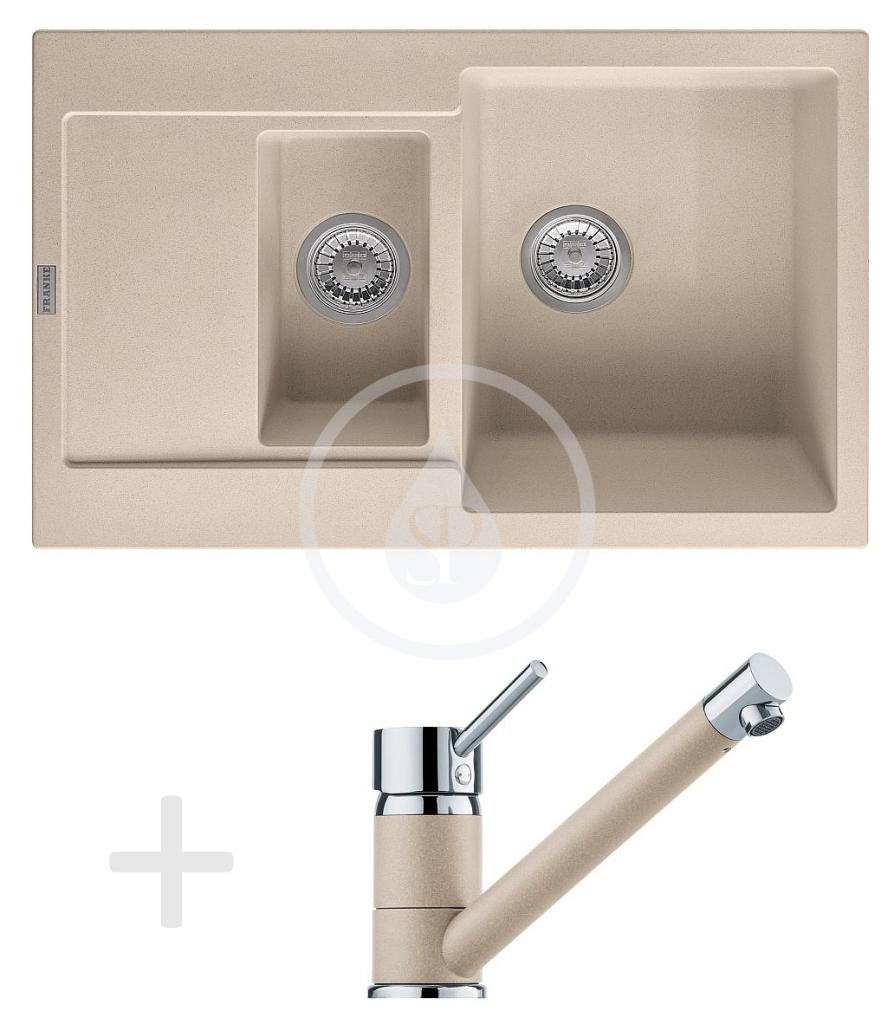 Franke Sety Kuchyňský set G73, granitový dřez MRG 651-78, pískový melír + baterie FG 7477, pískový melír 114.0365.297