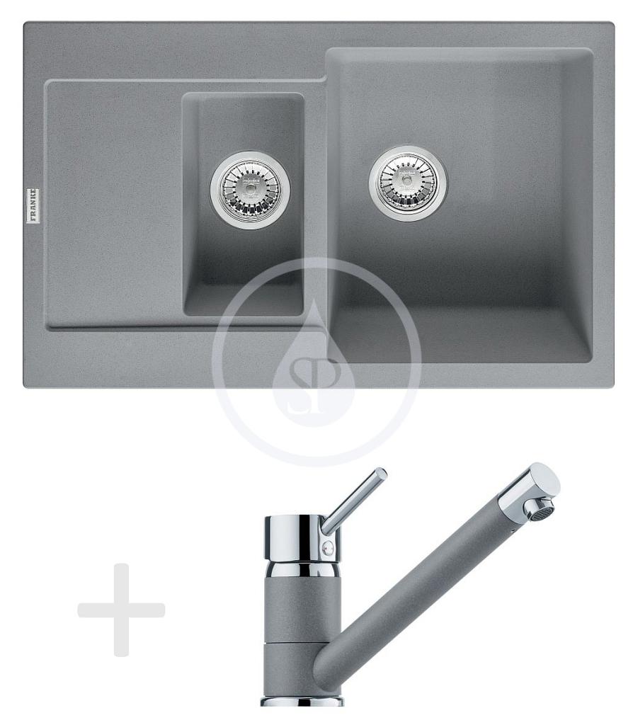 Franke Sety Kuchyňský set G73, granitový dřez MRG 651-78, šedý kámen + baterie FG 7477, šedý kámen 114.0365.336