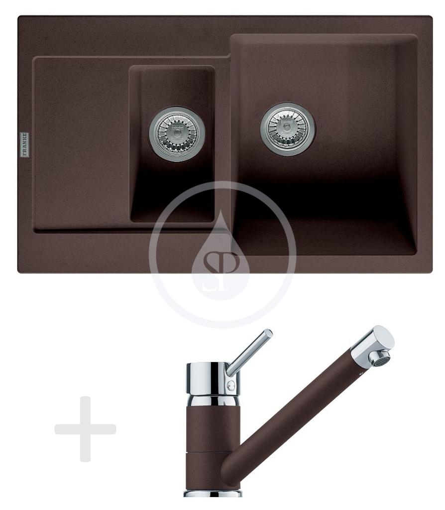 Franke Sety Kuchyňský set G73, granitový dřez MRG 651-78, tmavě hnědá + baterie FG 7477, tmavě hnědá 114.0365.337