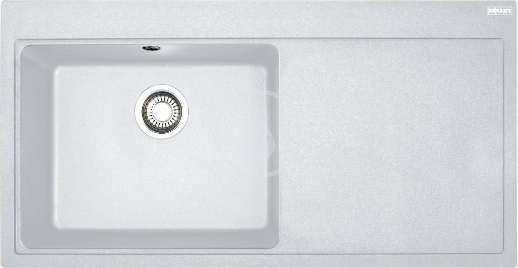 Franke Mythos Granitový dřez MTG 611/2, 1000x515 mm, levý, bílá-led 114.0150.003