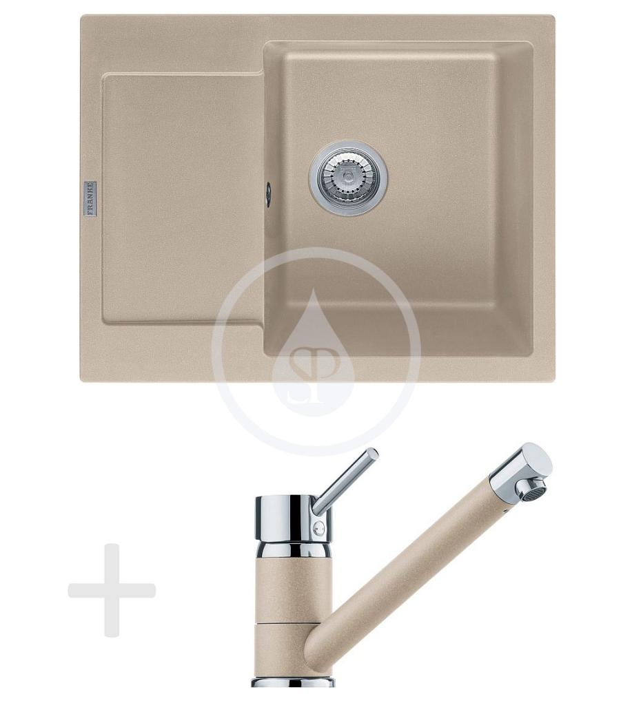 Franke Sety Kuchyňský set G69, granitový dřez MRG 611-62, pískový melír + baterie FG 7477, pískový melír 114.0365.195