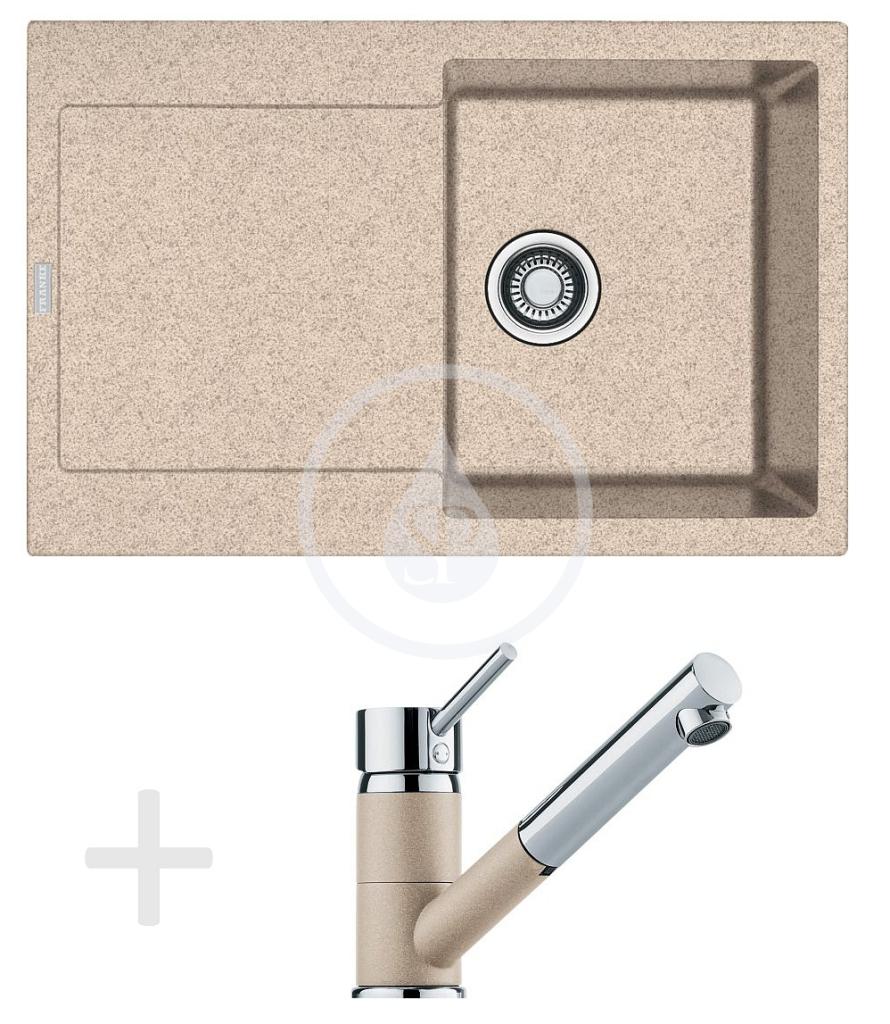 Franke Sety Kuchyňský set G72, granitový dřez MRG 611, pískový melír + baterie FG 7486, pískový melír 114.0365.283
