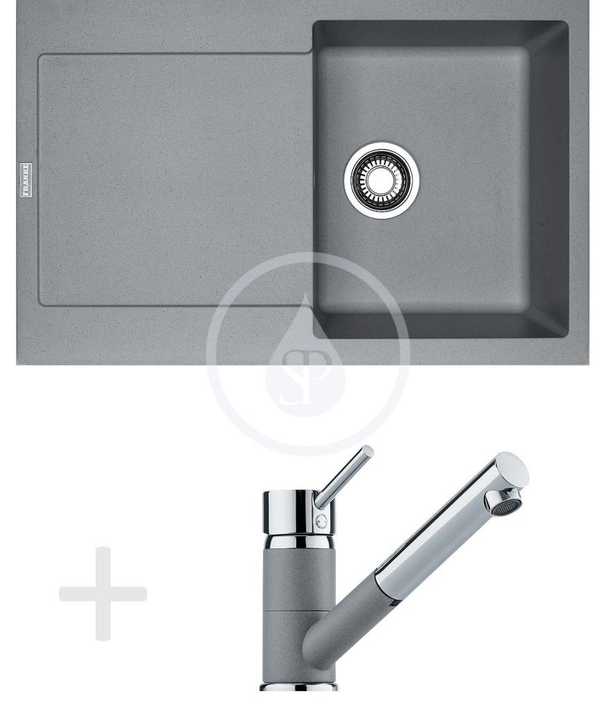 Franke Sety Kuchyňský set G72, granitový dřez MRG 611, šedý kámen + baterie FG 7486, šedý kámen 114.0365.286