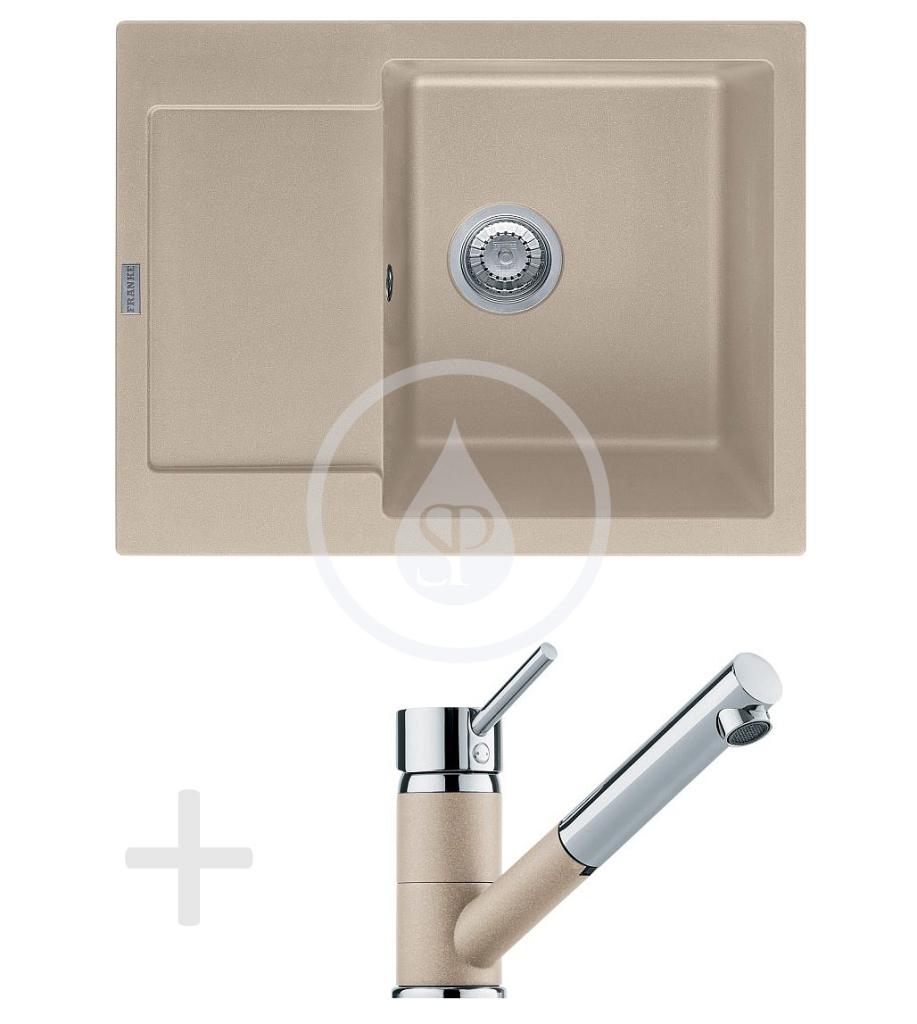 Franke Sety Kuchyňský set G70, granitový dřez MRG 611-62, pískový melír + baterie FG 7486, pískový melír 114.0365.254