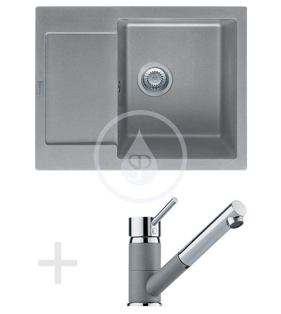 Franke Sety Kuchyňský set G70, granitový dřez MRG 611-62, šedý kámen + baterie FG 7486, šedý kámen 114.0365.257