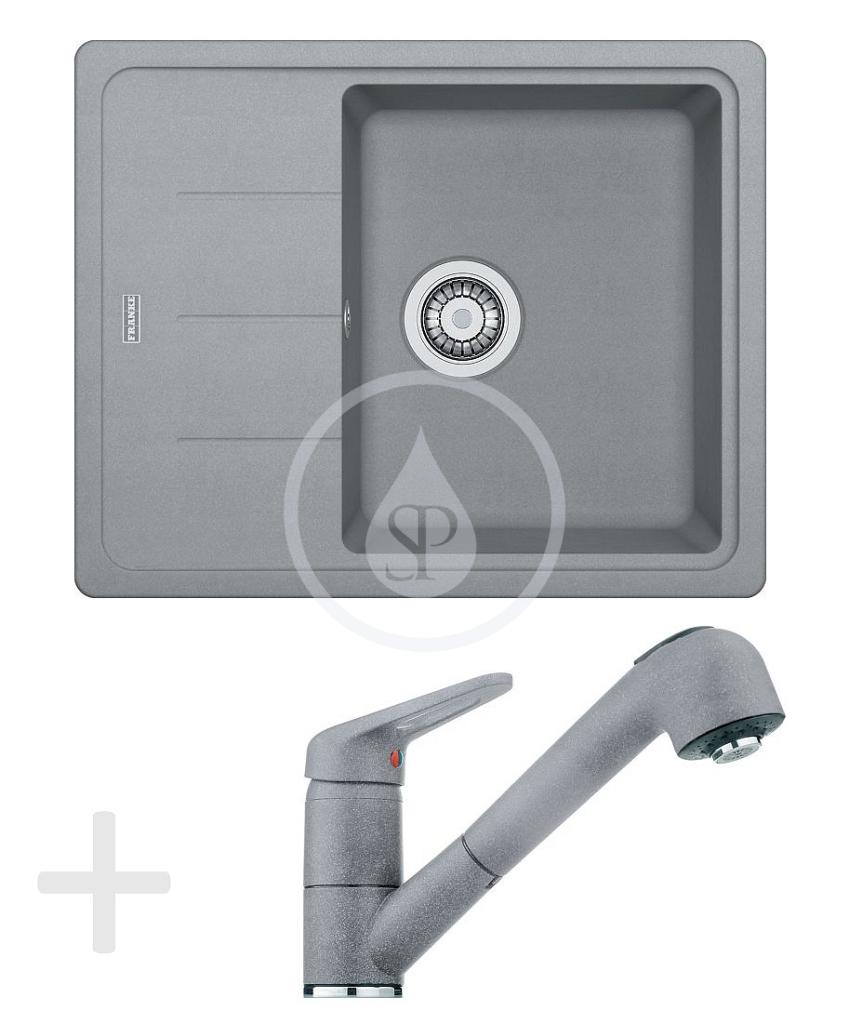 Franke Sety Kuchyňský set G55, granitový dřez BFG 611-62, šedý kámen + baterie FC 9547, šedý kámen 114.0323.821