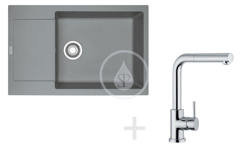 Franke Sety Kuchyňský set G76, granitový dřez MRG 611-78 BB, šedý kámen + baterie FN 0147, chrom 114.0365.684