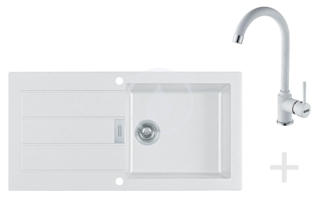 Franke Sety Kuchyňský set T27, tectonitový dřez SID 611, bílá + baterie FP 9400, bílá 114.0366.032
