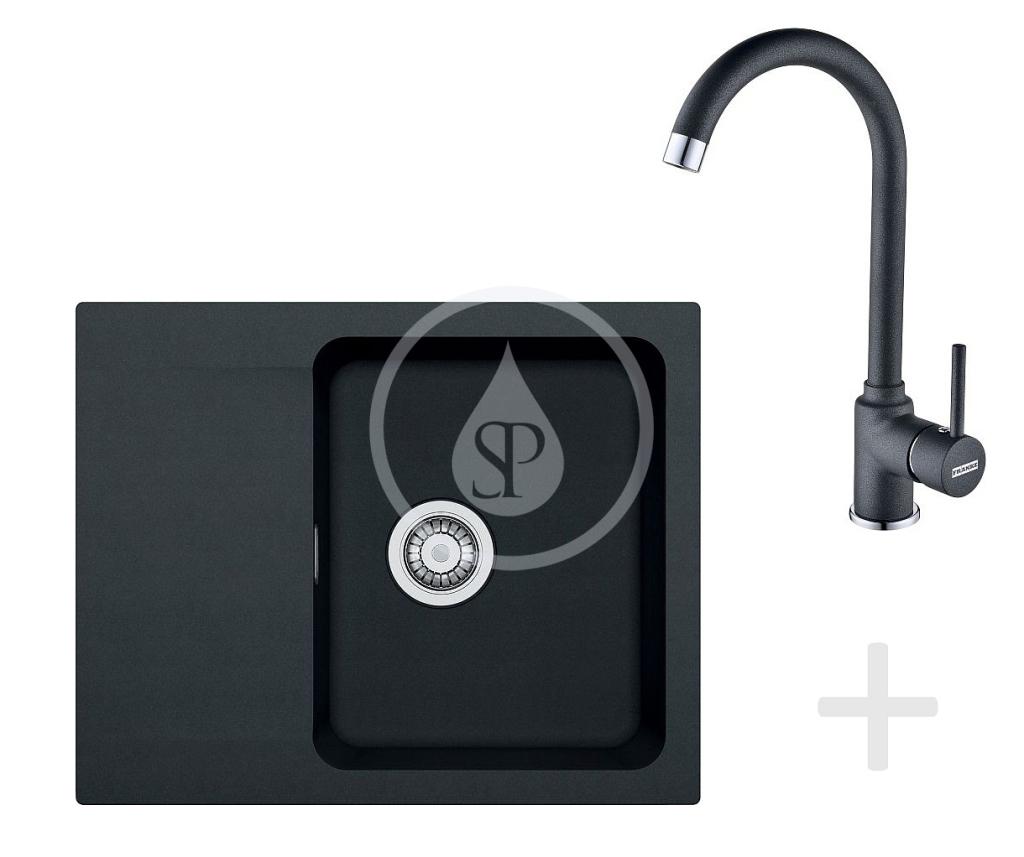 Franke Sety Kuchyňský set T29, tectonitový dřez OID 611-62, černá + baterie FP 9900, černá 114.0366.037